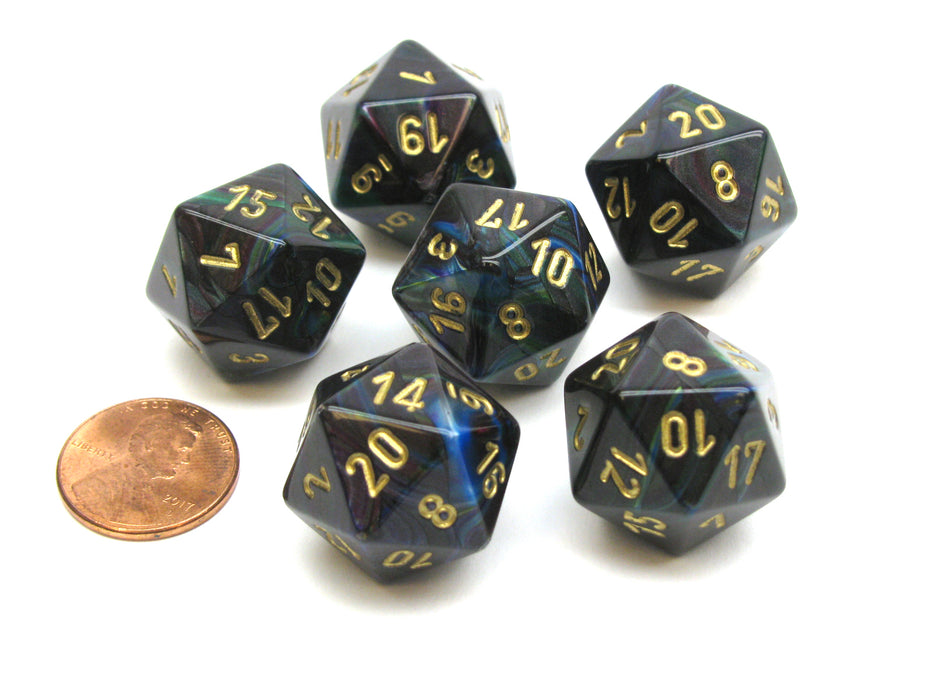 Lustrous 20 Sided D20 Chessex Dice, 6 Pieces - Shadow with Gold Numbers