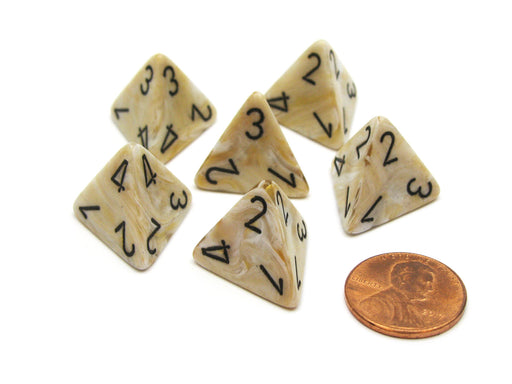 Marble 18mm 4 Sided D4 Chessex Dice, 6 Pieces - Ivory with Black