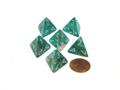 Marble 18mm 4 Sided D4 Chessex Dice, 6 Pieces - Oxi-Copper with White Numbers