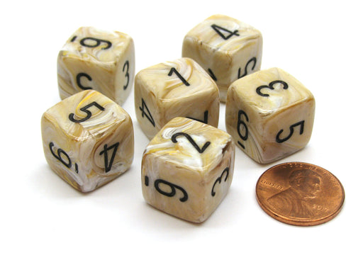 Marble 15mm 6-Sided D6 Numbered Chessex Dice, 6 Pieces - Ivory with Black