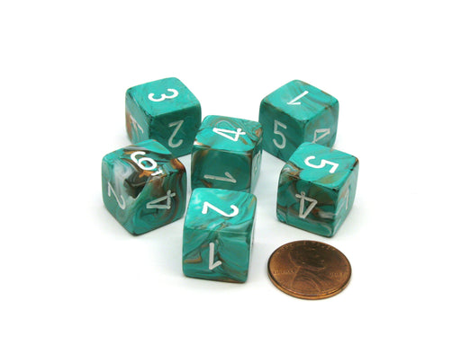 Marble 15mm 6-Sided D6 Numbered Chessex Dice, 6 Pieces - Oxi-Copper with White