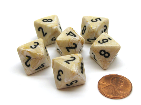 Marble 15mm 8 Sided D8 Chessex Dice, 6 Pieces - Ivory with Black