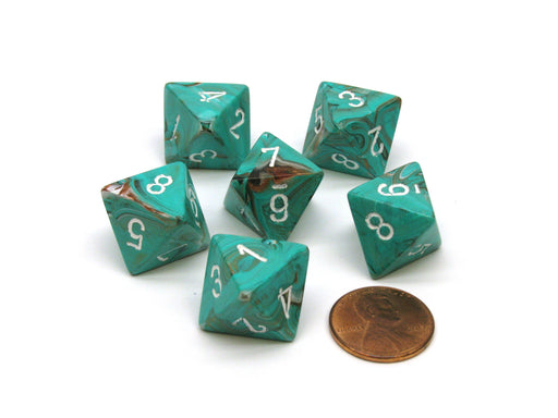 Marble 15mm 8 Sided D8 Chessex Dice, 6 Pieces - Oxi-Copper with White Numbers
