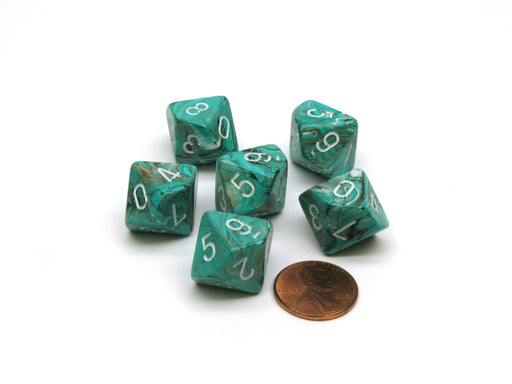 Marble 16mm D10 (0-9) Chessex Dice, 6 Pieces - Oxi-Copper with White Numbers