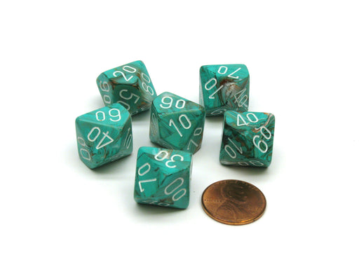 Marble 16mm Tens D10 (00-90) Chessex Dice, 6 Pieces - Oxi-Copper with White