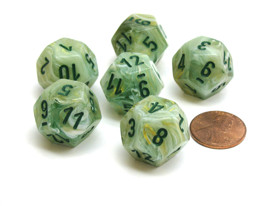 Marble 18mm 12 Sided D12 Chessex Dice, 6 Pieces -  Green with Dark Green