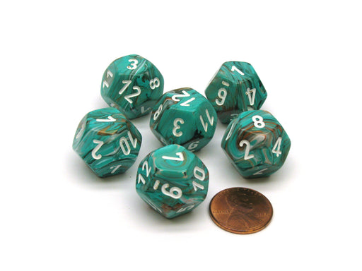 Marble 18mm 12 Sided D12 Chessex Dice, 6 Pieces - Oxi-Copper with White Numbers