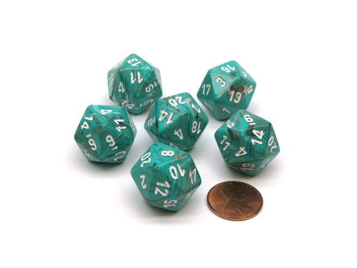 Marble 20 Sided D20 Chessex Dice, 6 Pieces - Oxi-Copper with White Numbers