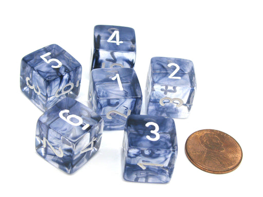 Nebula 15mm D6 Polyhedral Chessex Dice, 6 Pieces - Black with White Numbers