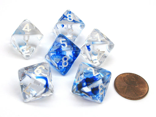 Nebula 15mm 8 Sided D8 Chessex Dice, 6 Pieces - Dark Blue with White Numbers