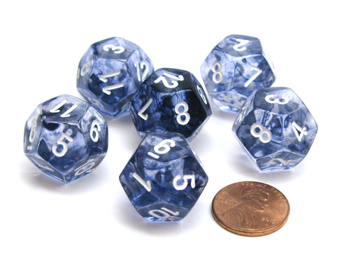 Nebula 18mm 12 Sided D12 Chessex Dice, 6 Pieces -  Black with White