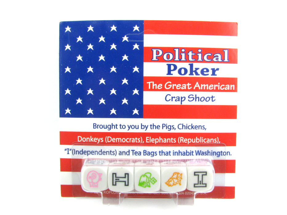 "Political Poker ""The Great American Crap Shoot"" Dice Game 5 Piece Set"