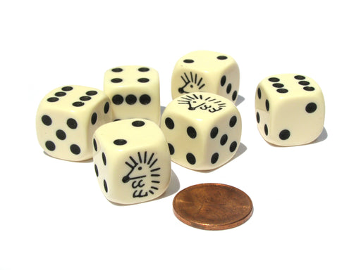 Set of 6 Hedgehog 16mm D6 Round Edged Koplow Animal Dice - Ivory with Black Pips