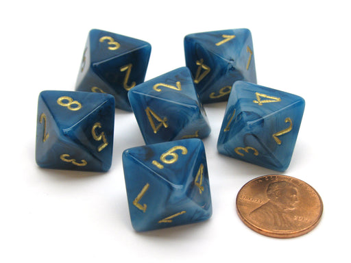 Phantom 15mm 8 Sided D8 Chessex Dice, 6 Pieces - Teal with Gold