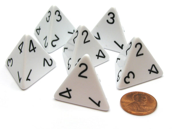 Opaque 26mm D4 Large Jumbo Numbered Dice, 6 Pieces - White with Black Numbers