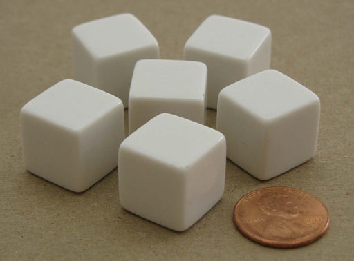 Pack of 6 Blank D6 Standard Size Dice - White