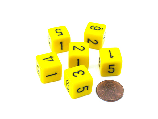 Opaque 15mm 6 Sided D6 Chessex Dice, 6 Pieces - Yellow with Black Numbers
