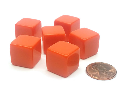 Blank Opaque 15mm D6 Chessex Dice, 6 Pieces - Orange with Square Corners