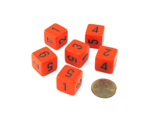 Opaque 15mm 6 Sided D6 Chessex Dice, 6 Pieces - Orange with Black Numbers