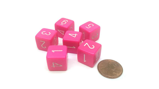 Opaque 15mm 6 Sided D6 Chessex Dice, 6 Pieces - Pink with White Numbers