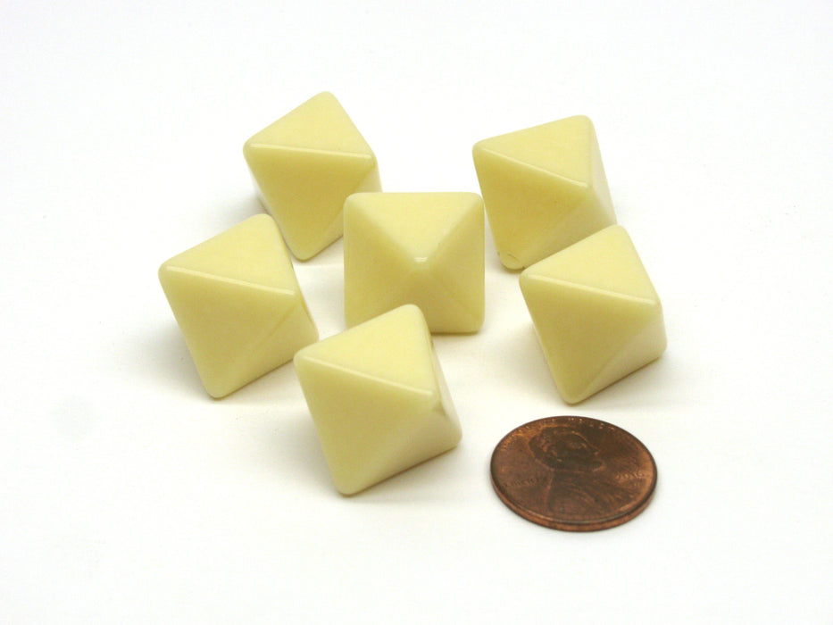 Blank Opaque 15mm 8 Sided D8 Chessex Dice, 6 Pieces - Ivory