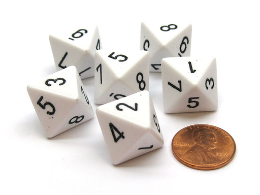 Opaque 15mm 8 Sided D8 Chessex Dice, 6 Pieces - White with Black