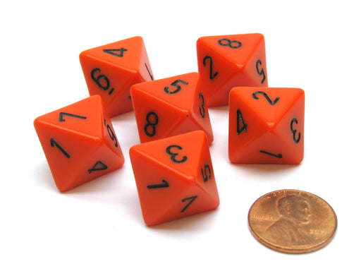 Opaque 15mm 8 Sided D8 Chessex Dice, 6 Pieces - Orange with Black