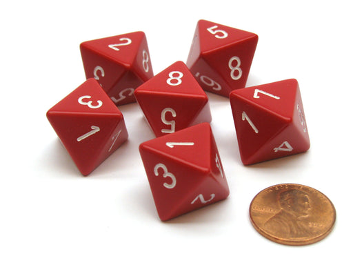 Opaque 15mm 8 Sided D8 Chessex Dice, 6 Pieces - Red with White