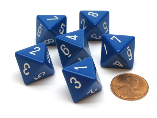 Opaque 15mm 8 Sided D8 Chessex Dice, 6 Pieces - Blue with White