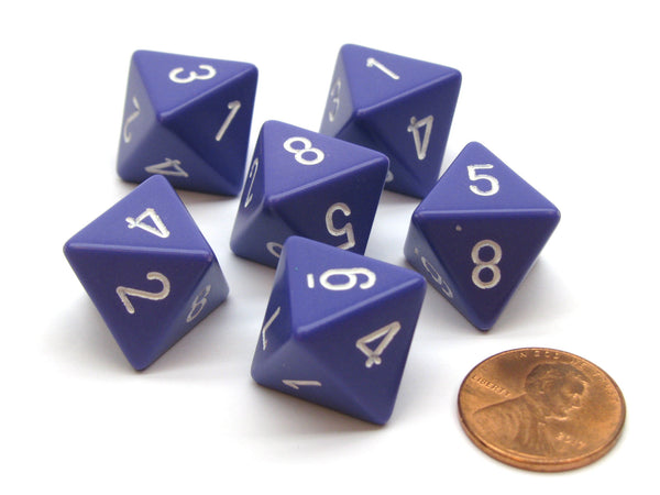 Opaque 15mm 8 Sided D8 Chessex Dice, 6 Pieces - Purple with White