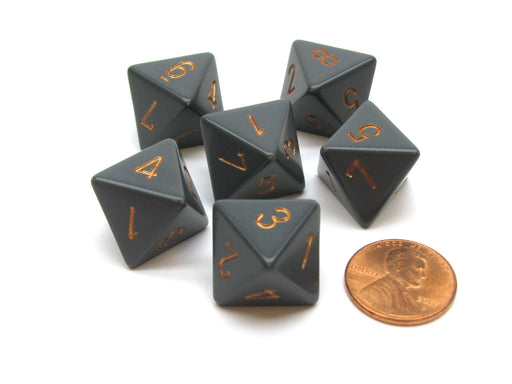 Opaque 15mm 8 Sided D8 Chessex Dice, 6 Pieces - Dark Grey with Copper