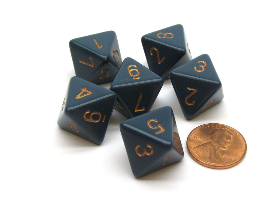 Opaque 15mm 8 Sided D8 Chessex Dice, 6 Pieces - Dusty Blue with Copper