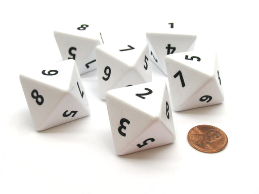 Opaque 25mm 8 Sided D8 Large Jumbo Numbered Dice, 6 Pieces - White with Black