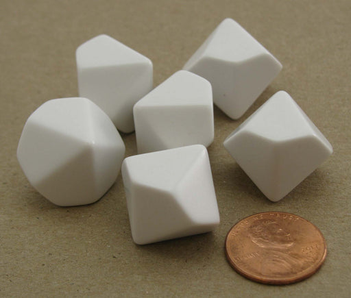 Pack of 6 Blank D10 Standard Size Dice - White