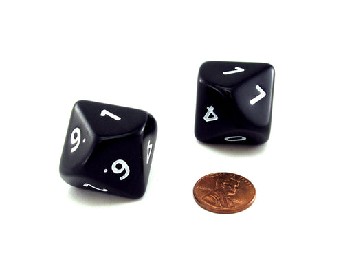 Opaque Jumbo 10 Sided D10 Chessex Dice, 2 Pieces - Black with White Numbers
