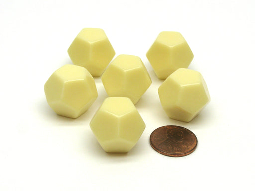 Blank Opaque 18mm 12 Sided D12 Chessex Dice, 6 Pieces - Ivory