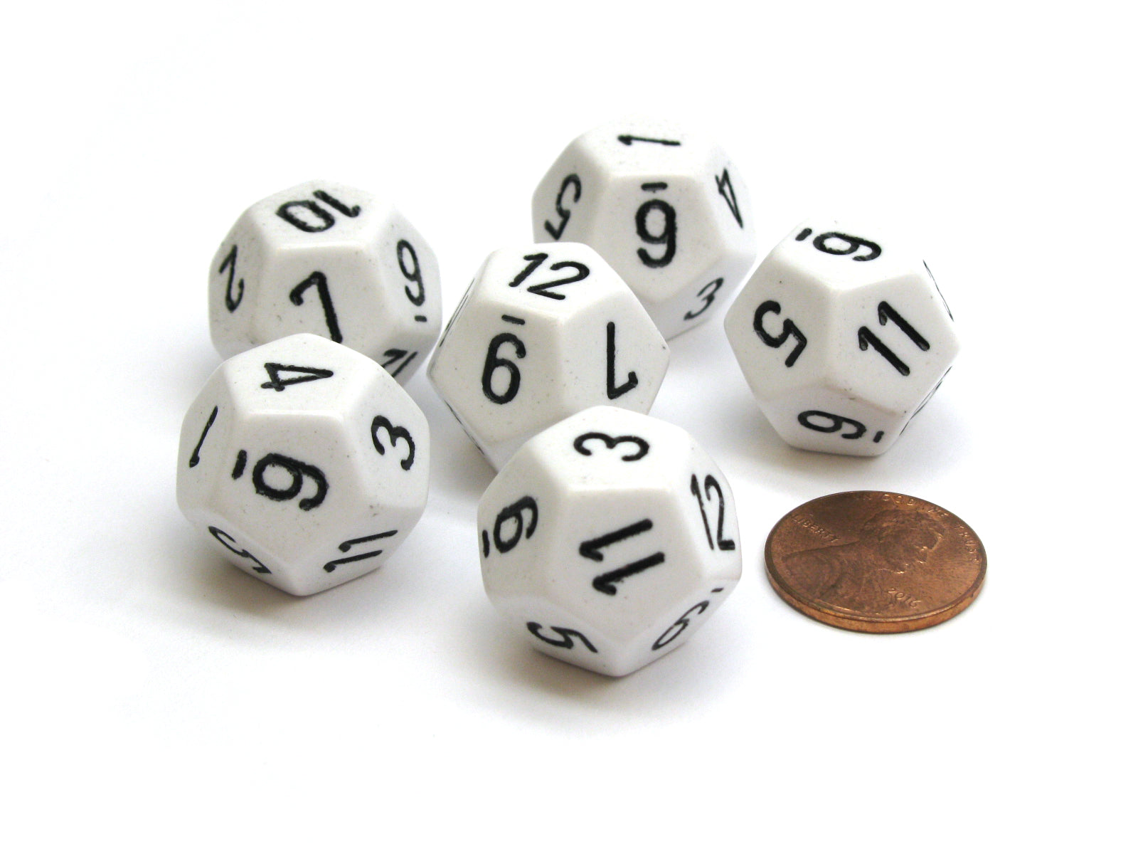 Opaque 18mm 12 Sided D12 Chessex Dice, 6 Pieces -  White with Black