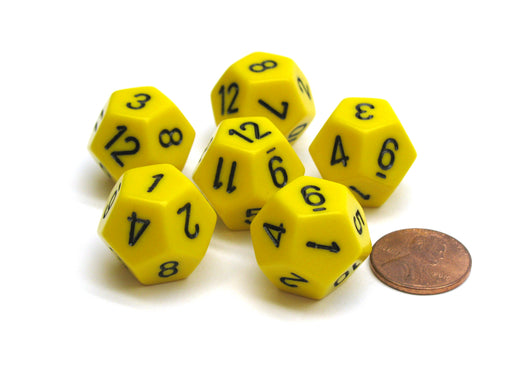 Opaque 18mm 12 Sided D12 Chessex Dice, 6 Pieces -  Yellow with Black