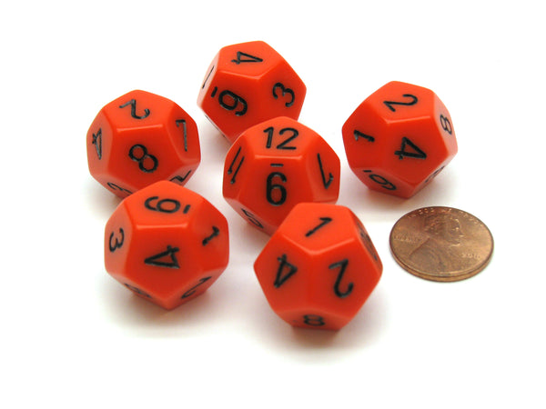 Opaque 18mm 12 Sided D12 Chessex Dice, 6 Pieces -  Orange with Black