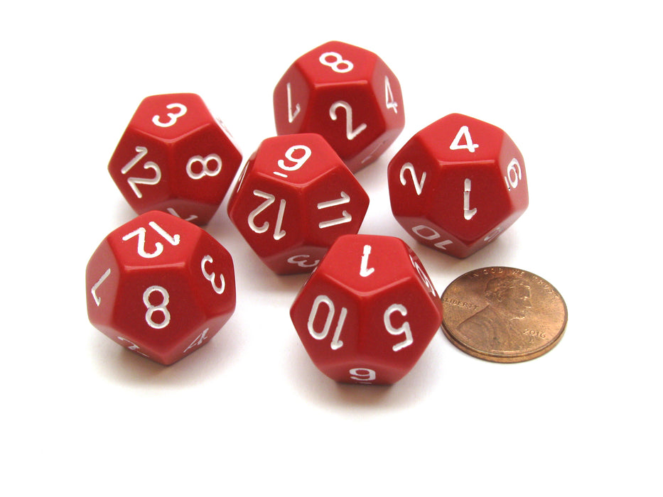 Opaque 18mm 12 Sided D12 Chessex Dice, 6 Pieces -  Red with White