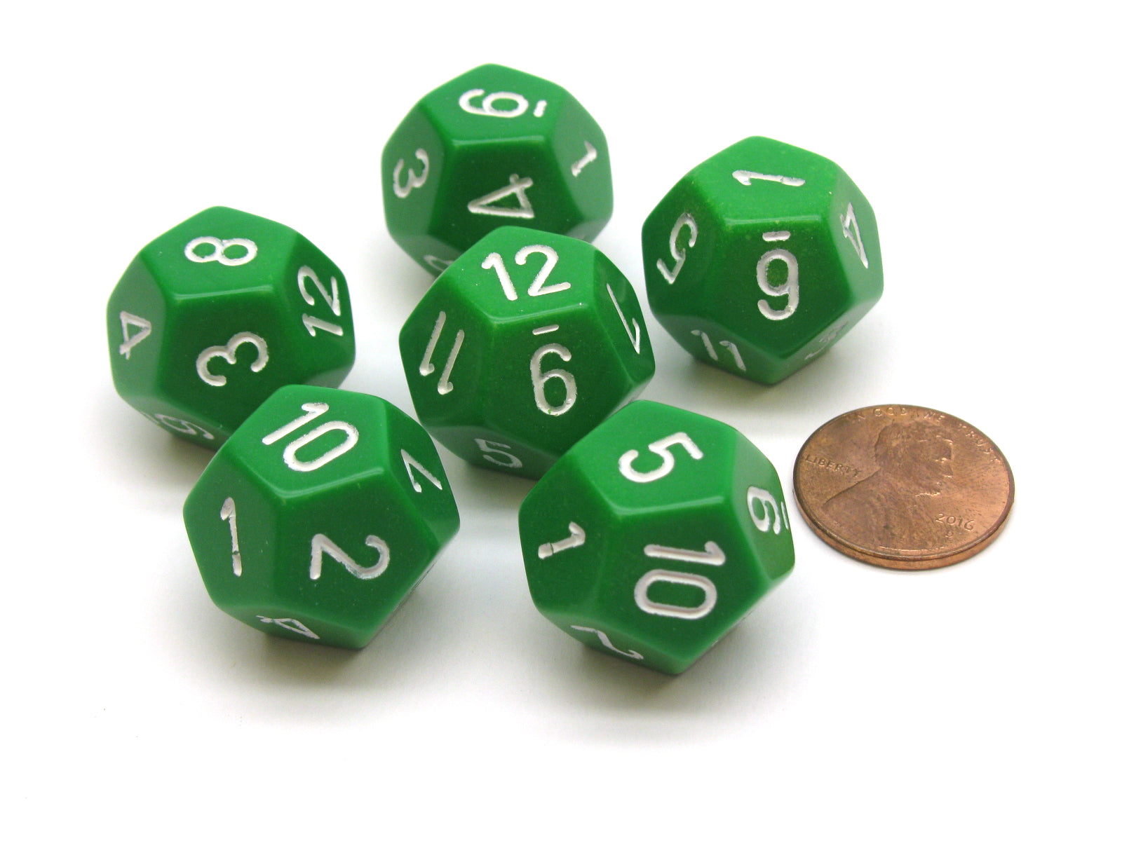 Opaque 18mm 12 Sided D12 Chessex Dice, 6 Pieces -  Green with White
