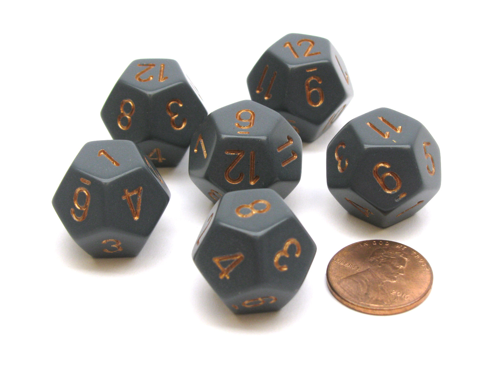 Opaque 18mm 12 Sided D12 Chessex Dice, 6 Pieces -  Dark Grey with Copper