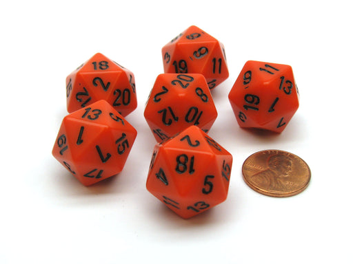 Opaque 20mm 20 Sided D20 Chessex Dice, 6 Pieces - Orange with Black Numbers