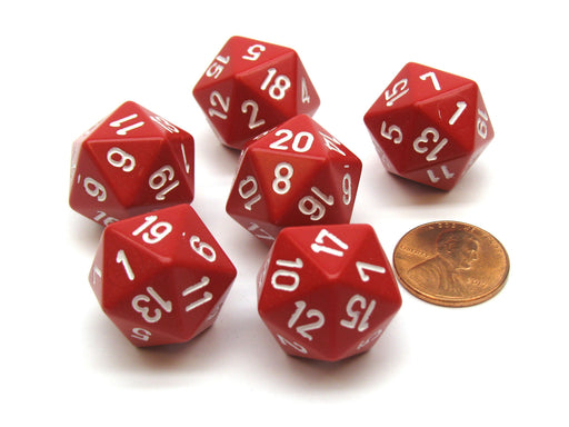Opaque 20mm 20 Sided D20 Chessex Dice, 6 Pieces - Red with White Numbers