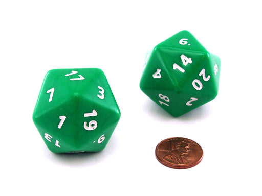 Opaque Jumbo 20 Sided D20 Chessex Dice, 2 Pieces - Green with White Numbers