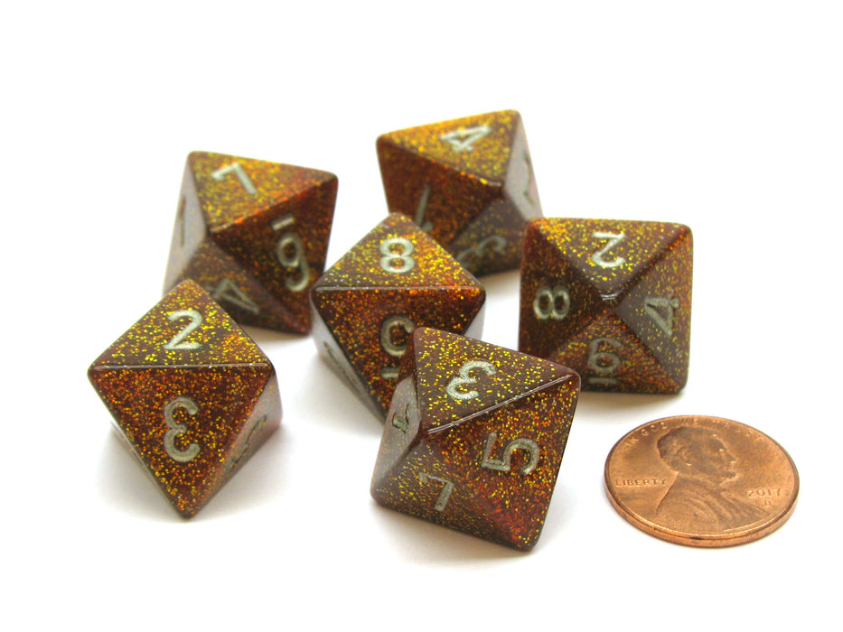 Glitter 15mm 8 Sided D8 Chessex Dice, 6 Pieces - Gold with Silver