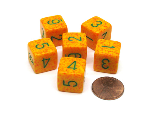 Speckled 15mm 6 Sided D6 Polyhedral Chessex Dice, 6 Pieces - Lotus