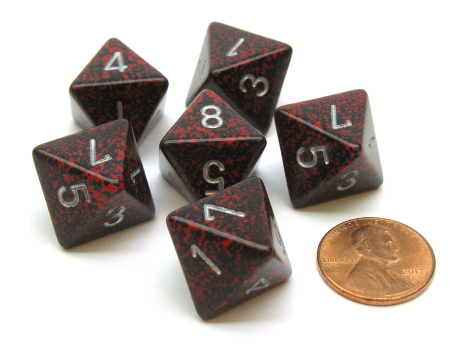 Speckled 15mm 8 Sided D8 Chessex Dice, 6 Pieces - Silver Volcano