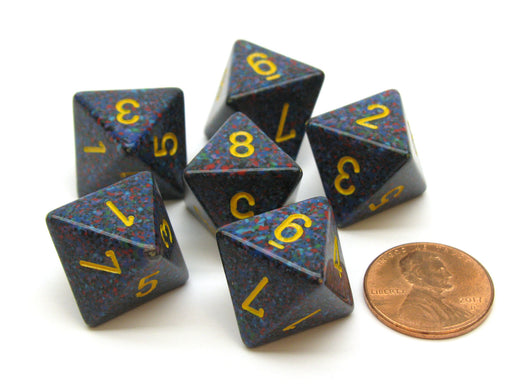 Speckled 15mm 8 Sided D8 Chessex Dice, 6 Pieces - Twilight