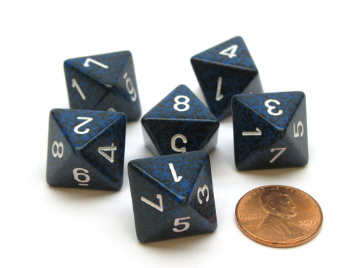 Speckled 15mm 8 Sided D8 Chessex Dice, 6 Pieces - Stealth